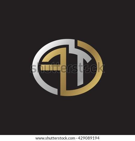 Stock Vector Ft Initial Letters Looping Linked Ellipse Elegant Logo Golden Silver Black Background Monogram