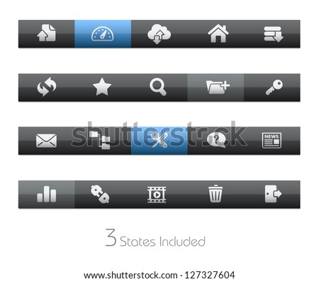FTP & Hosting // Blackbar Series + It includes 3 buttons states in different layers. + - stock vector
