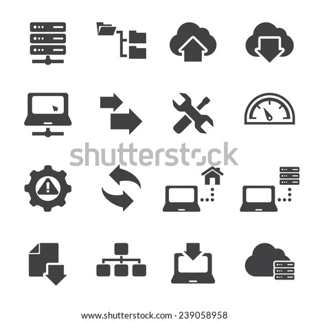FTP & Hosting Icons  - stock vector