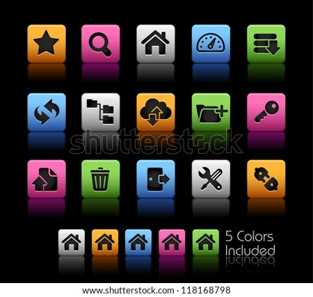 FTP & Hosting Icons // Color Box------It includes 5 color versions for each icon in different layers ------