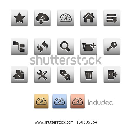 FTP & Hosting Icons // Metallic Series - It includes 4 color versions for each icon in different layers.  - stock vector