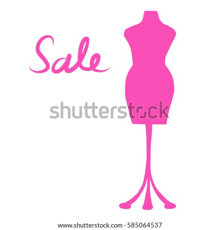 "Fuchsia colored mannequin dummy for dressmaking with wording ""Sale"". Icon for tailoring, dressmaker or sale promotion. Vector illustration with hand drawn style."