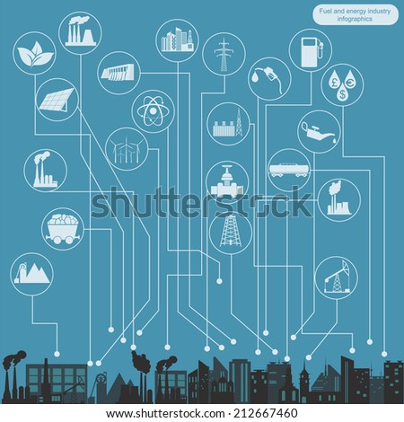 Fuel and energy industry infographic, set elements for creating your own infographics. Vector illustration - stock vector