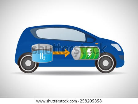 Fuel Cell Vehicle and Hydrogen Station - stock vector