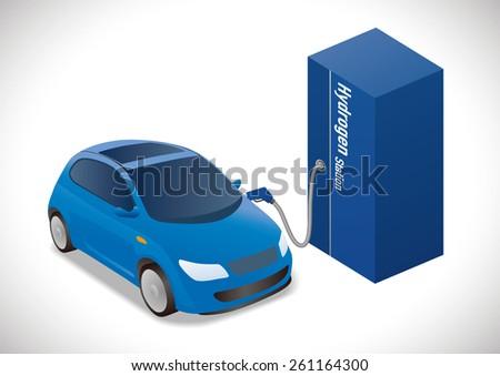Fuel Cell Vehicle(FCV) illustration - stock vector