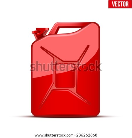 Fuel container jerrycan. Gasoline canister. Vector Illustration isolated on white background. - stock vector