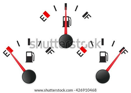 Fuel gauge. Empty and full. Vector illustration isolated on white background