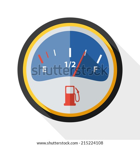 Fuel gauge icon with long shadow on white background - stock vector