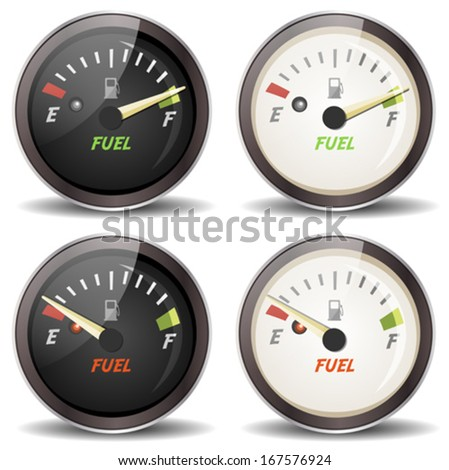 Fuel Gauge Icons Set/ Illustration of a set of cartoon fuel gauge icons, full and empty, in black and white version, for cars dashboard or sports and driving equipment - stock vector