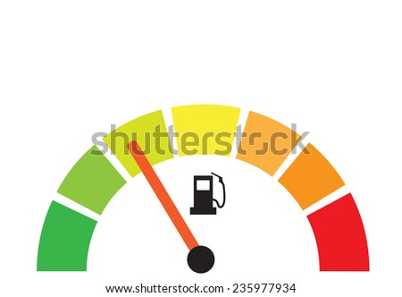Fuel gauge illustration as energy efficiency concept - stock vector