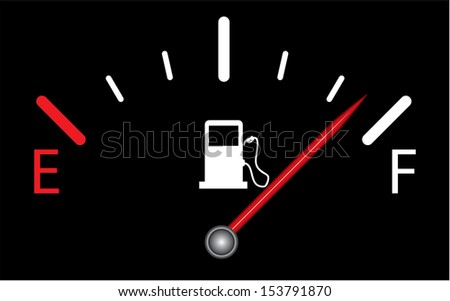 Fuel gauge nearly full with red indicator. Isolated easy to edit vector design on black background. - stock vector