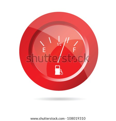 fuel gauge red icon vector illustration - stock vector