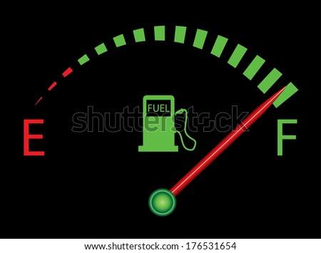 Fuel gauge vector design on black background, indicating near full. - stock vector