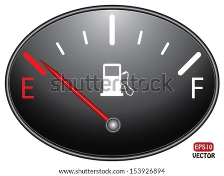 Fuel indicator illustration on black background. Abstract isolated vector design. Fuel gauge indicating nearly empty.
