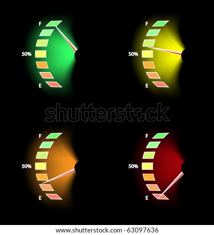 Fuel level. Set of four different levels - stock vector