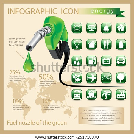 Fuel nozzle  with many green icon. - stock vector