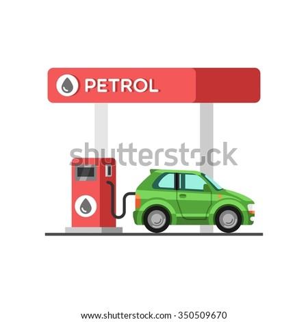 Fuel petrol station. Vector illustration. - stock vector