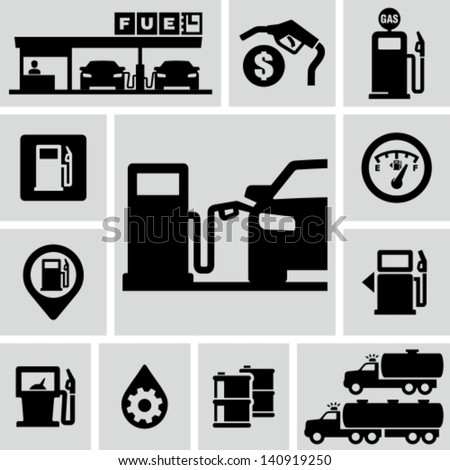 Fuel pump, gas station icons - stock vector