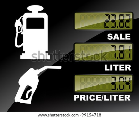 Fuel pump price label set - stock vector