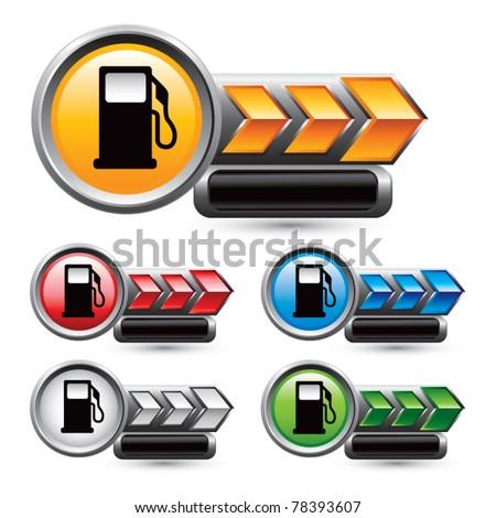 Fuel pumps in multicolored arrow nameplates - stock vector