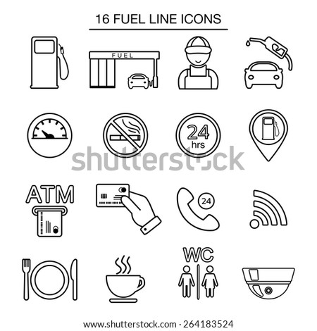 Fuel station line icons. Isolated. Vector illustration - stock vector