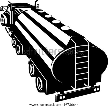 Fuel tanker viewed from a high angle - stock vector