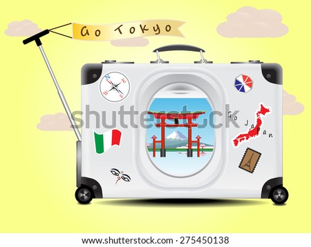 Fuji mountain and Tori red gate see through the air plane window on the gray suitcase baggage on yellow  background concept of travel tokyo Japan - stock vector