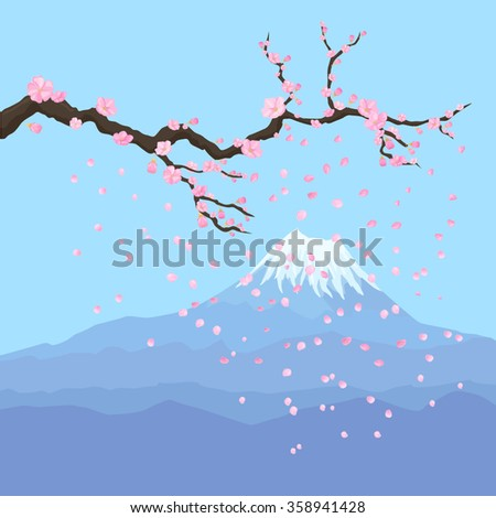 Fuji mountain background with cherry blossom branch