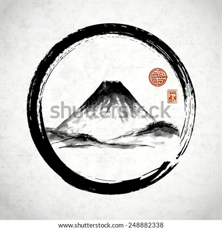 Fuji mountain in black enso circle hand-drawn with ink in traditional Japanese style sumi-e on rice paper. Sealed with decorative stylized stamps. - stock vector