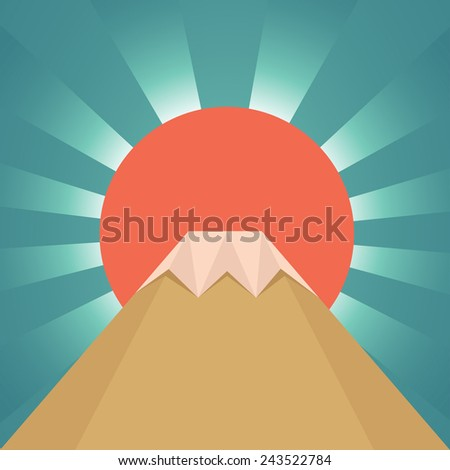Fuji mountain with big red sun - stock vector