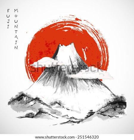Fujiyama mountain  in clouds and big red sun on white background. Symbol of Japan. Traditional Japanese style sumi-e. Vector illustration.  - stock vector