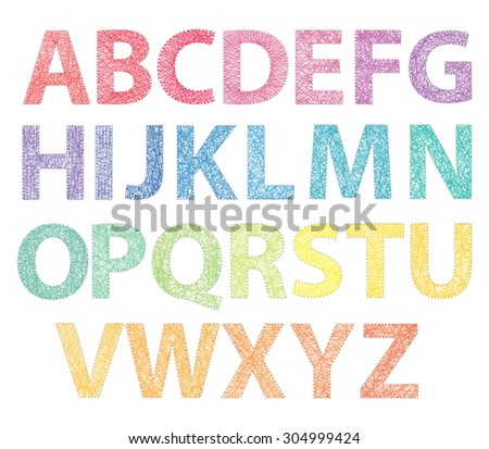 Full ABC made with threads on pins - stock vector