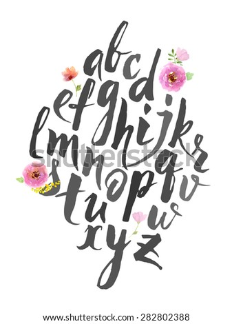 Full alphabet. Hand drawn alphabet written with brush pen. Letters are decorated with watercolor flowers.  - stock vector