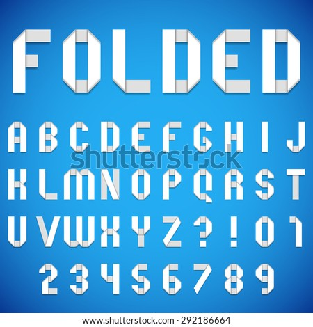 Full alphabet of folded white paper font - stock vector