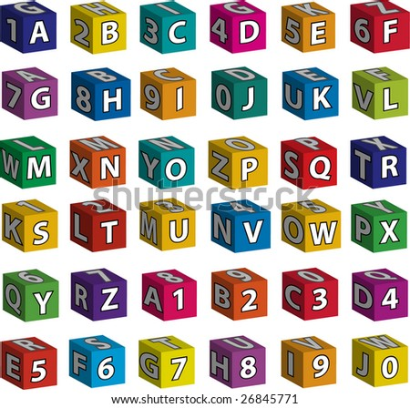 Full alphabet (white letters) and ten figures on the front sides (as well as on side and upper planes) of 3d toy bricks. - stock vector
