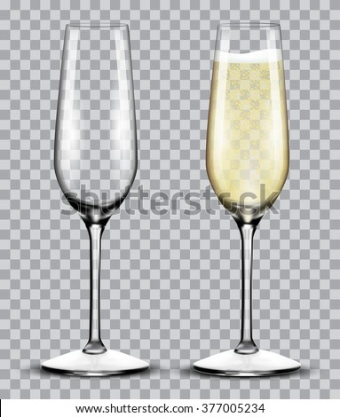 full and empty glass of champagne isolated on a transparent background