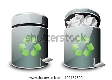 Full and empty trash bins icon. Vector - stock vector