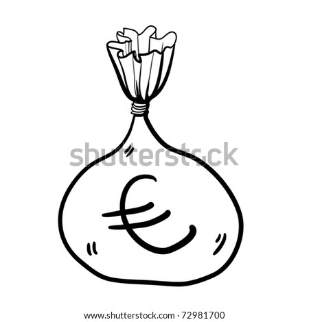 Full bag of money. Children's drawing of the big bag with money - stock vector