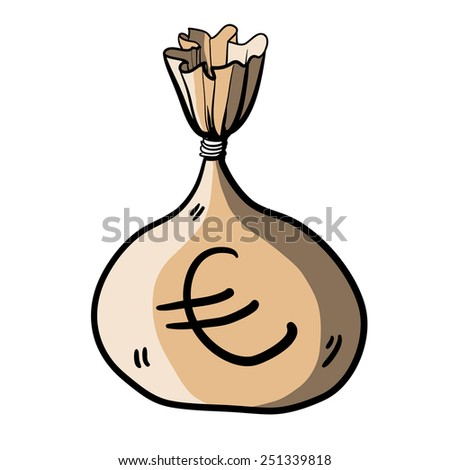 Full bag of money. Children's drawing of the big bag with money. Color image - stock vector