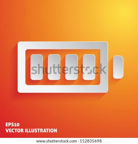 Full battery white icon on orange background. Vector illustration - stock vector