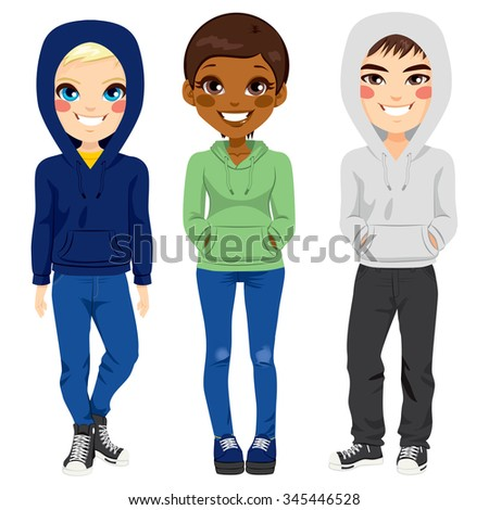 Full body illustration of three happy young teenagers boys and girl from different ethnicity smiling with casual outfit posing together - stock vector