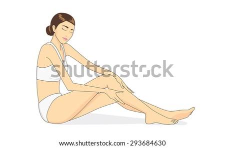 Full body of beautiful woman applying moisturizer cream on leg skin. Skin care concept - stock vector
