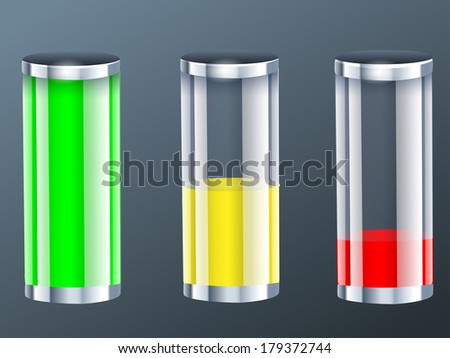Full charge, empty and half empty battery/Battery Charge - stock vector