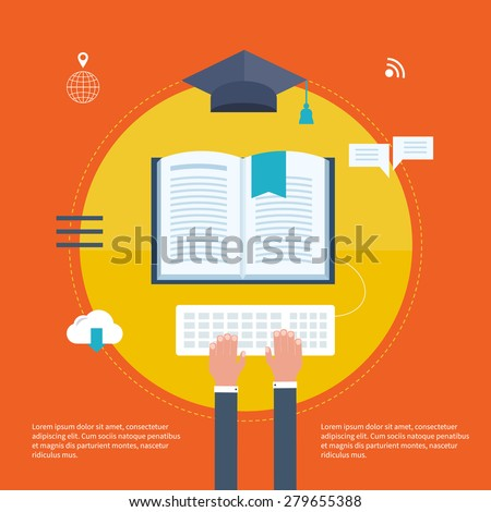 Full circle of e-learning with set icons about course search, presentation, online education - stock vector