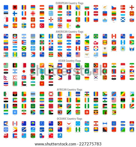 Full collection of World Rounded Square Vector National flag Icons.