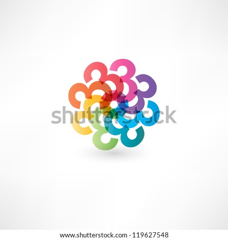 Full color abstract figure of the numbers 3 - stock vector