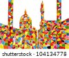 Full color city. Abstract background. Vectorization hand-draw painting. - stock vector