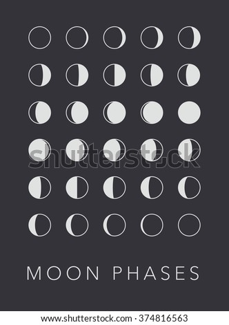 Full cycle moon phases vector background