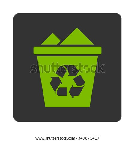 Full Dustbin vector icon. Style is flat rounded square button, eco green and gray colors, white background.