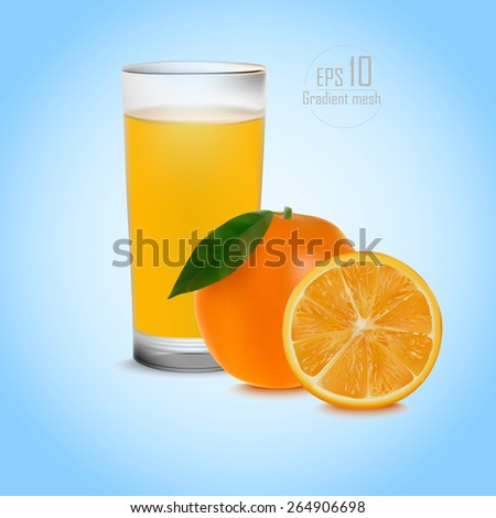 Full glass of orange juice and orange with leaf . done gradient mesh on blue background . vector illustration . eps 10 - stock vector